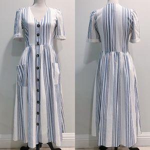 Zara button front striped dress